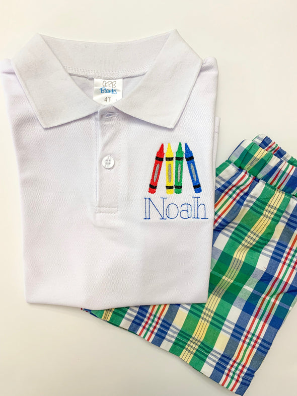 Back to School Crayon Polo Shirt