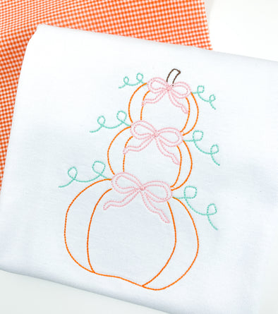 Fall Pumpkin Embroidered Shirt - Girl