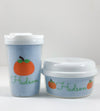 Fall Pumpkin on Blue Gingham Personalized Sippy Cups and Snack Container