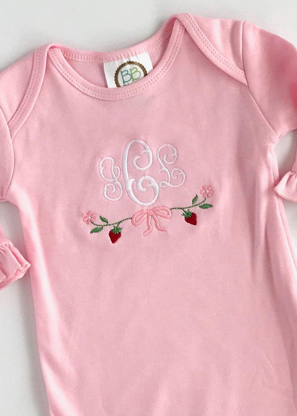 Newborn Gown with Strawberry Embroidery