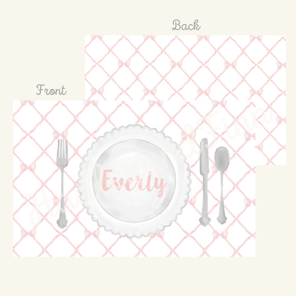 Personalized Trellis Bow Laminated Placemat