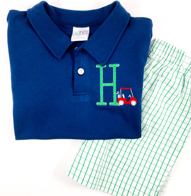 Boys Initial Polo with Golf Cart
