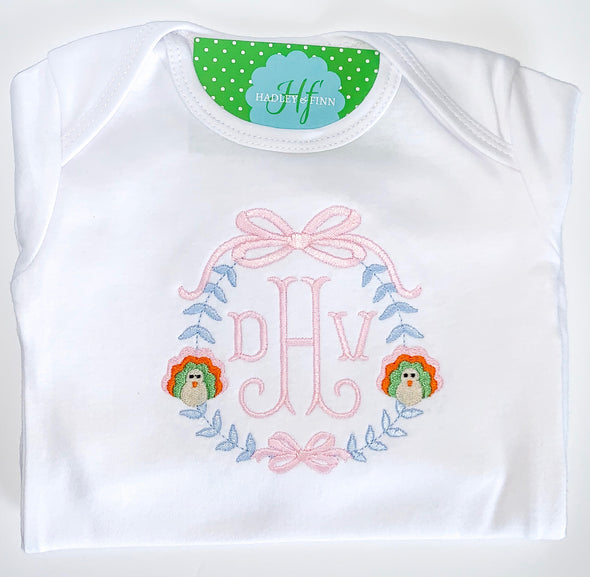 Fall Thanksgiving Turkey and Monogram Baby Gown or Shirt