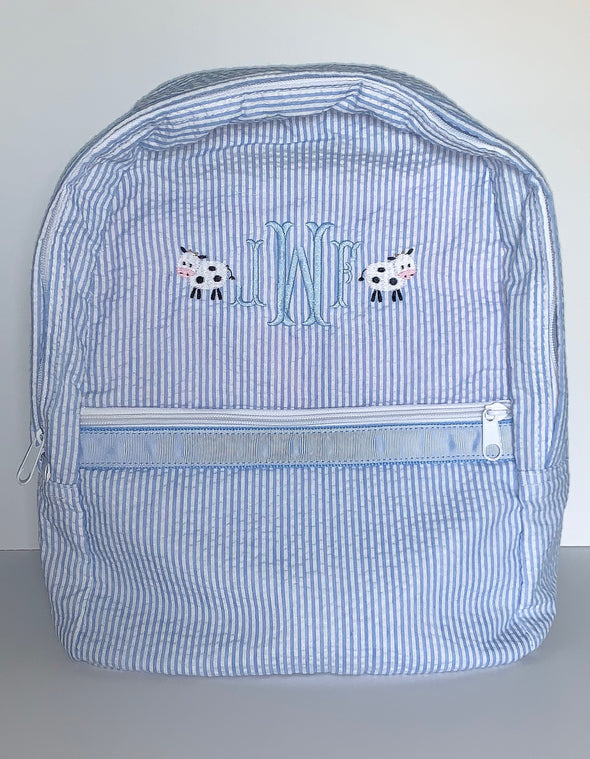 Backpack with Cows and Monogram