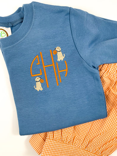 Fall Monogram Blue Tee with Dog and Pumpkin Embroidery