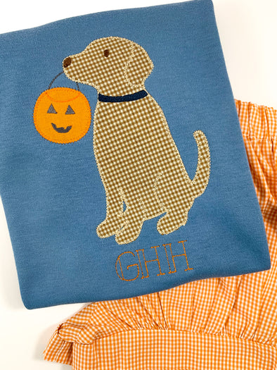 Fall Blue Tee with Monogram, and Labrador and Pumpkin Applique
