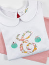 Fall Girls Initial with Pumpkins on Peter Pan Collar Shirt