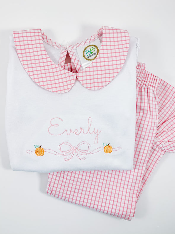 Pink Windowpane Ruffle Pants and Long Sleeve Shirt Set with Pumpkins and Bow Embroidery