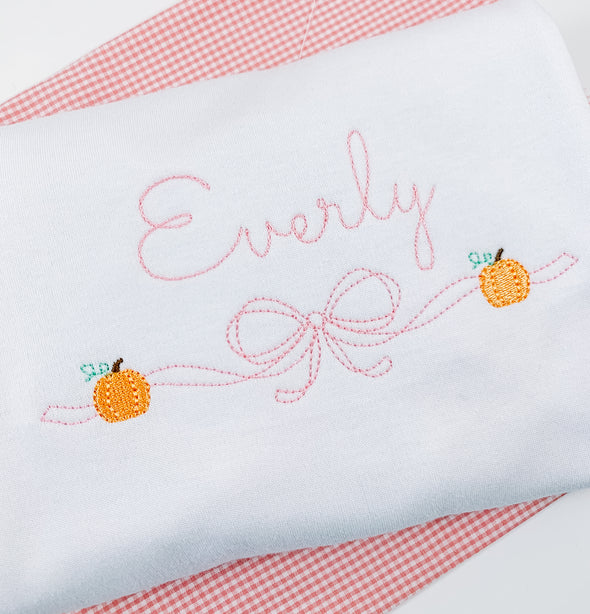 Fall Pumpkin with Pink Bow Embroidery Shirt