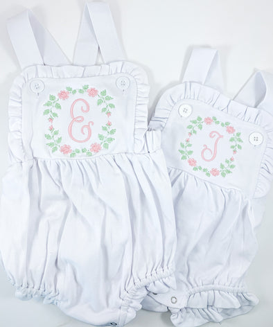 Ruffled Sunsuit with Pink and Green Embroidery with Initial