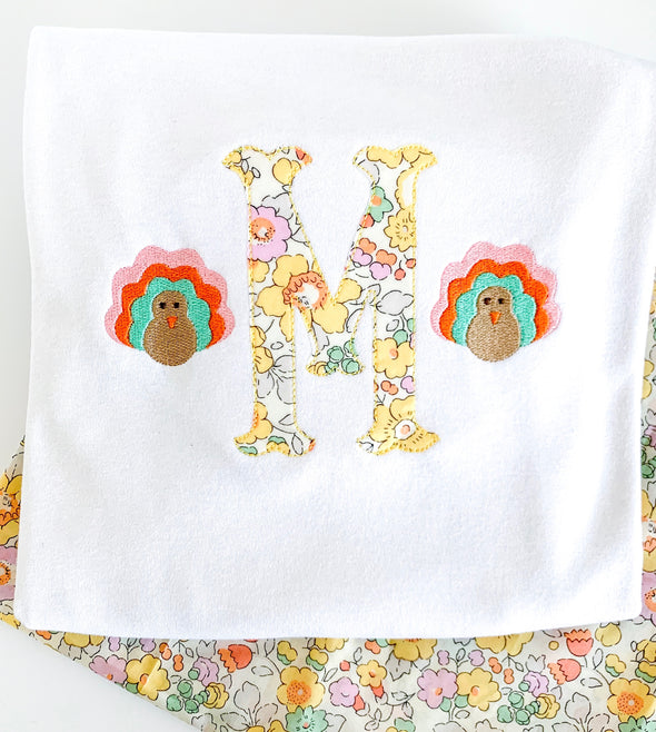 Fall Thanksgiving Turkey with Initial Applique