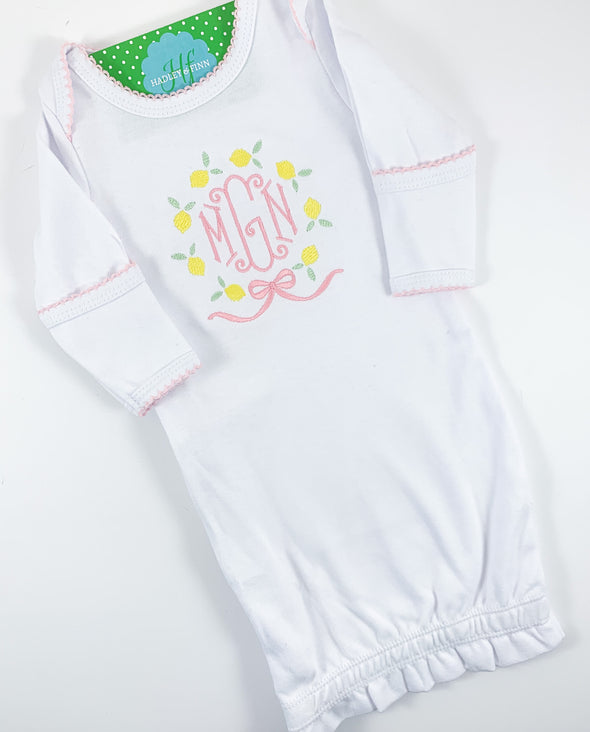 Newborn Lemon and Monogram Embroidery Gown