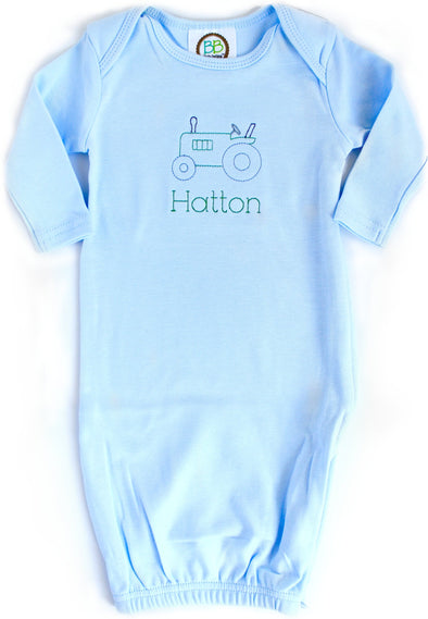 Newborn Gown with Tractor Embroidery
