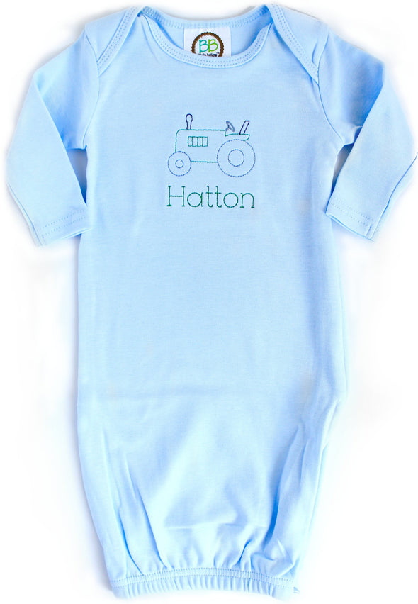 Baby Gown with Tractor Embroidery
