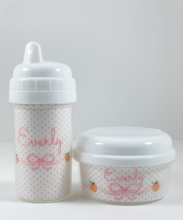 Pink Bitty Dot with Pumpkin Embroidery Personalized Sippy Cups and Snack Container