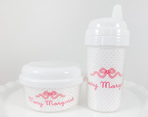 Sippy Cup and Snack Container Personalized with Pink Bow