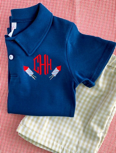 Polo Shirt with Fireworks and Monogram