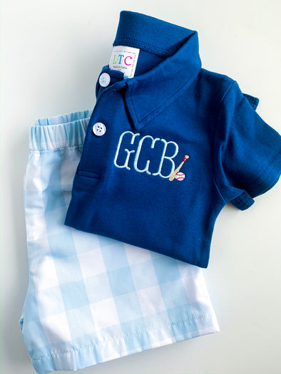 Baseball Polo Shirt with Monogram