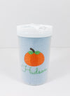 Bitty Dot Blue Personalized Dump Truck with Pumpkin Sippy Cups and Snack Container
