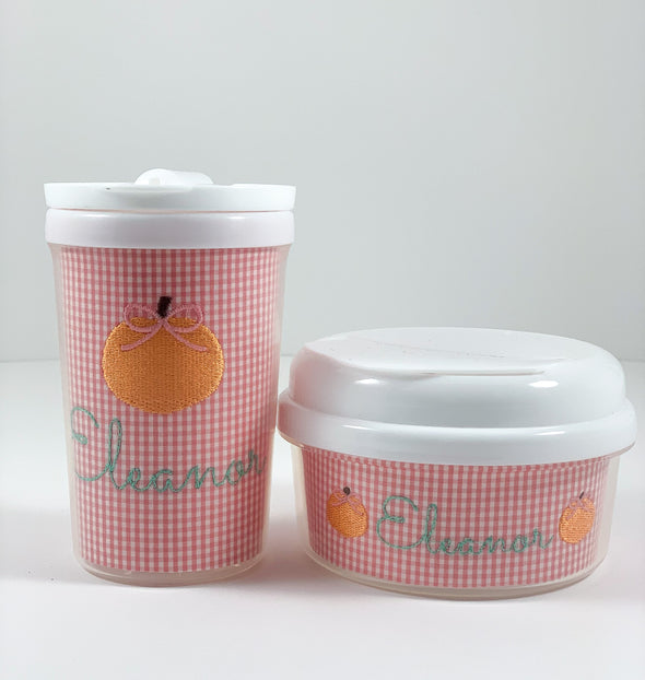 Fall Pumpkin on Pink Gingham Personalized Tumbler and Snack Container