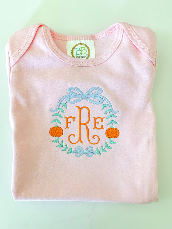 Thanksgiving Fall Pumpkin Pink Gown Monogrammed