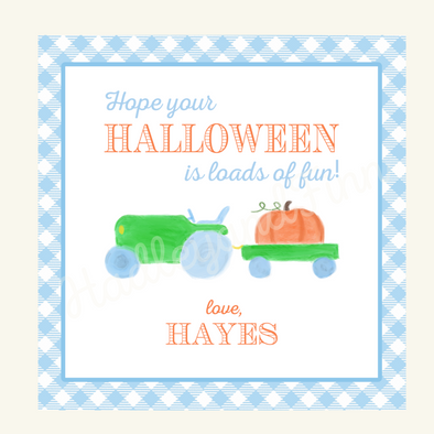 Halloween Watercolor Tags - Pumpkin Tractor