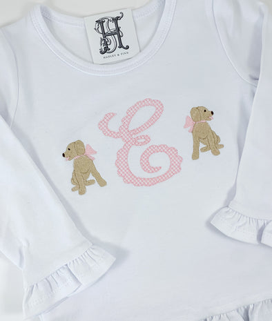 Puppy Dog with Bow Shirt for Girls with Pink Gingham Initial
