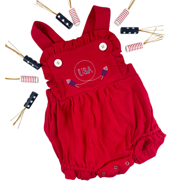 "Red Ruffled Sunsuit with Fourth of July Design ""USA"" and Rockets"