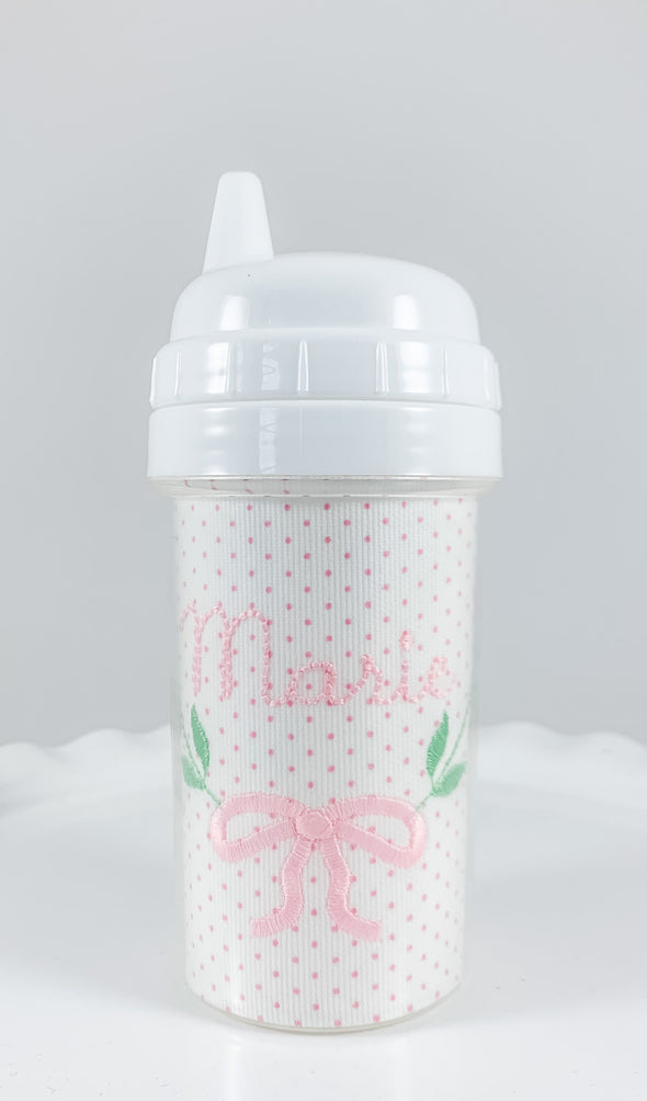 Sippy Cup Personalized with Pink Bitty Dot Fabric and Strawberry Embroidery
