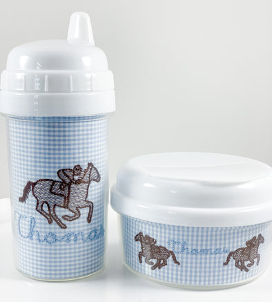 Derby Horse on Blue Gingham Sippy, Tumbler, and/or Snack Container