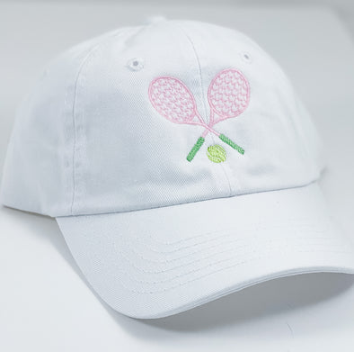 White Hat with Pink Tennis Embroidery