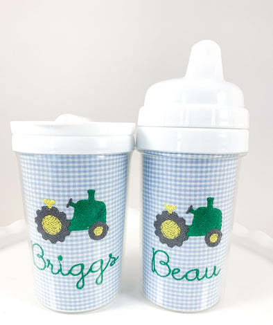 Tractor Personalized Tumbler and Sippy Cup