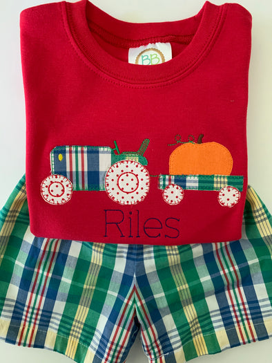 Pumpkin, Tractor, and Wagon Applique Boys Shirt