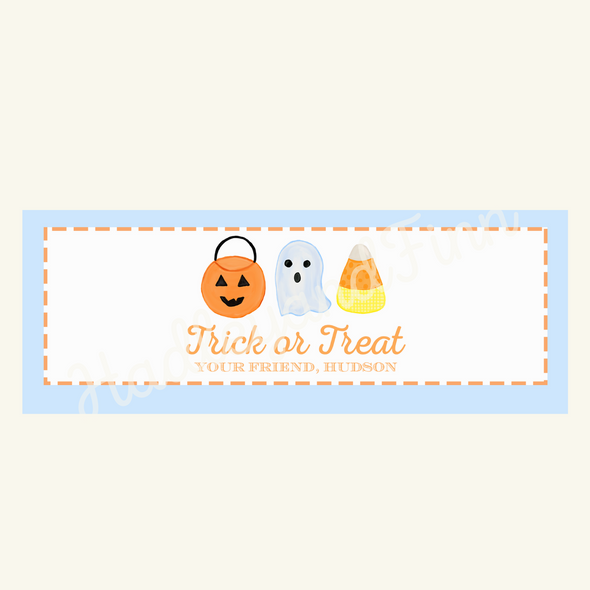Halloween Watercolor Treat Bag Topper - Blue