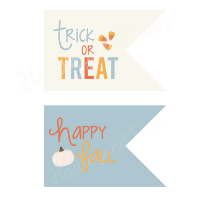 Fall/Halloween Trick or Treat or Gift Tag - Blue