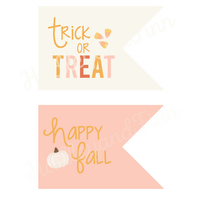 Fall/Halloween Trick or Treat or Gift Tag - Pink