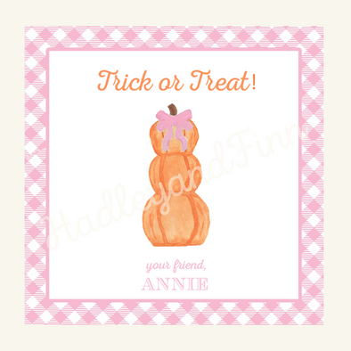 Halloween Pumpkin with Bow Trick or Treat Tag - Girl