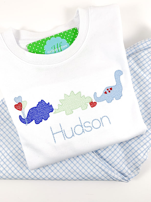 Valentine Dinosaurs Shirt with Name