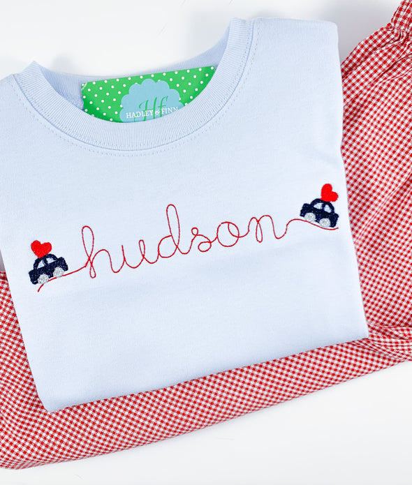 Valentine Name Shirt With Cars
