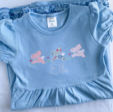 3 Bunnies Jumping Applique Dress