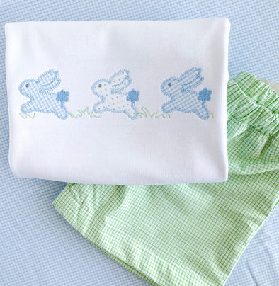 Easter Bunnies Jumping Applique Shirt- Green
