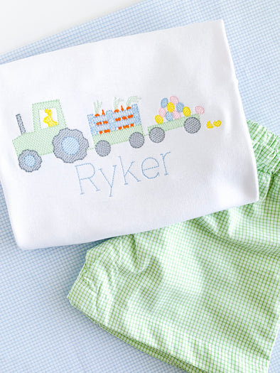 Easter Tractor Embroidered Shorts and matching Beaufort Bonnet Color Block Shorts