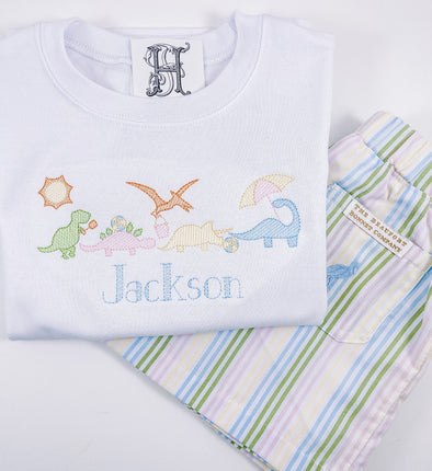 Shirt with Beach Dinosaurs Personalized with Name