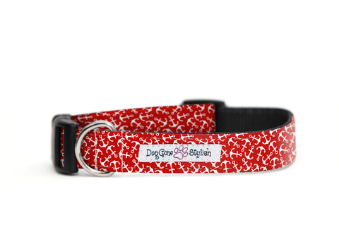 Red and White Anchor Dog Collar