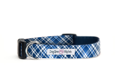 Blue, Black and White Plaid Dog Collar