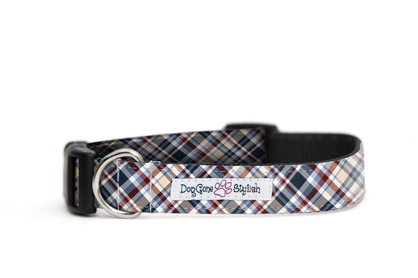 Tan, Blue and White Plaid Dog Collar