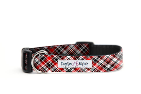 Red, Black and White Plaid Dog Collar