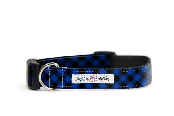 Blue Buffalo Plaid Bow Tie and Collar Set