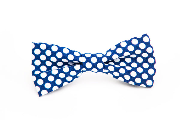 Blue and White Large Polka Dot Bow Tie