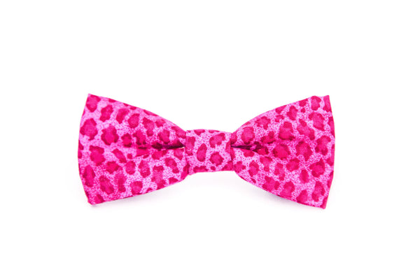 Pink Leopard Print Bow Tie